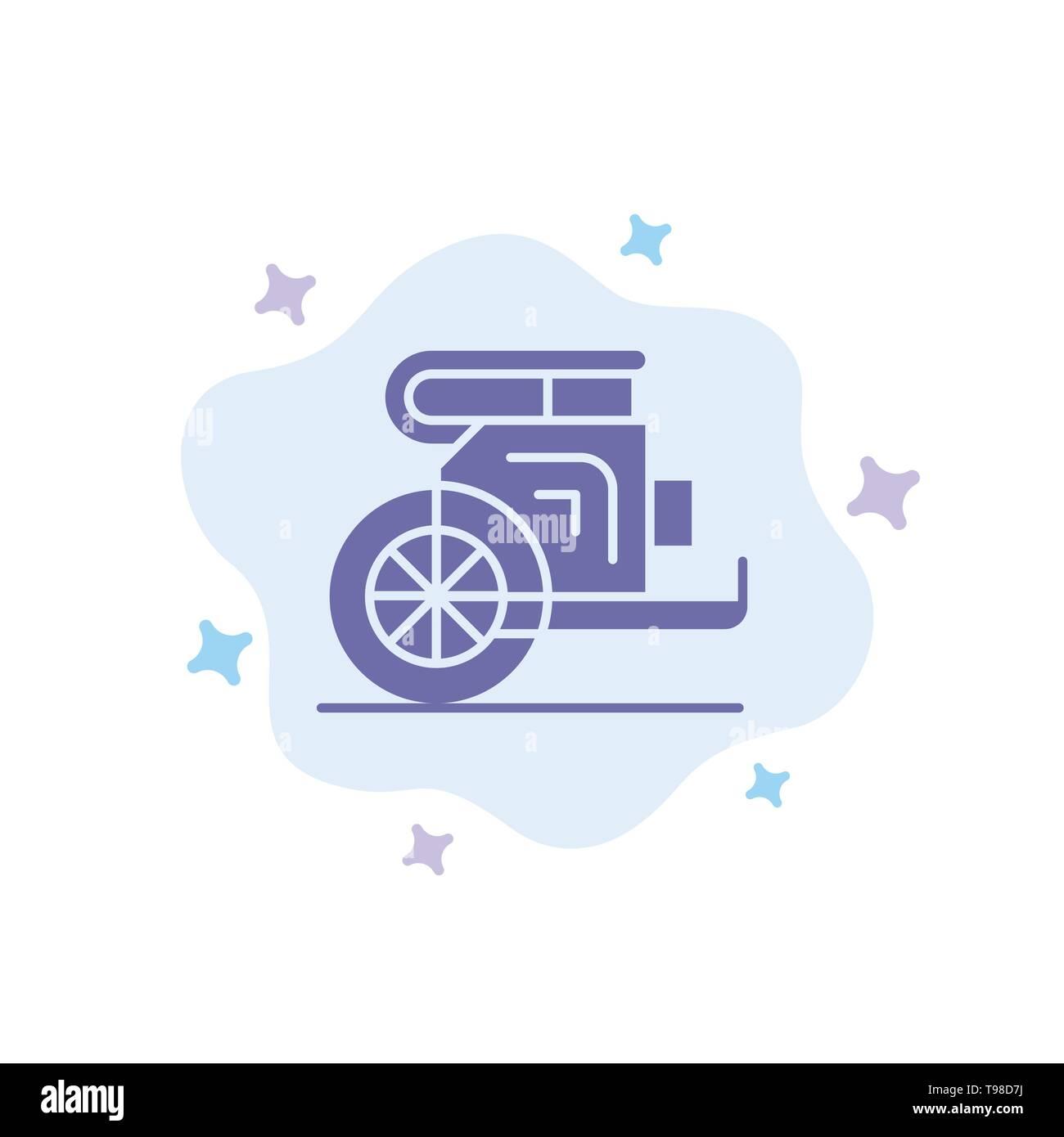 Char, chevaux, vieux, Prince, Grèce Résumé icône bleue sur fond de nuage Illustration de Vecteur