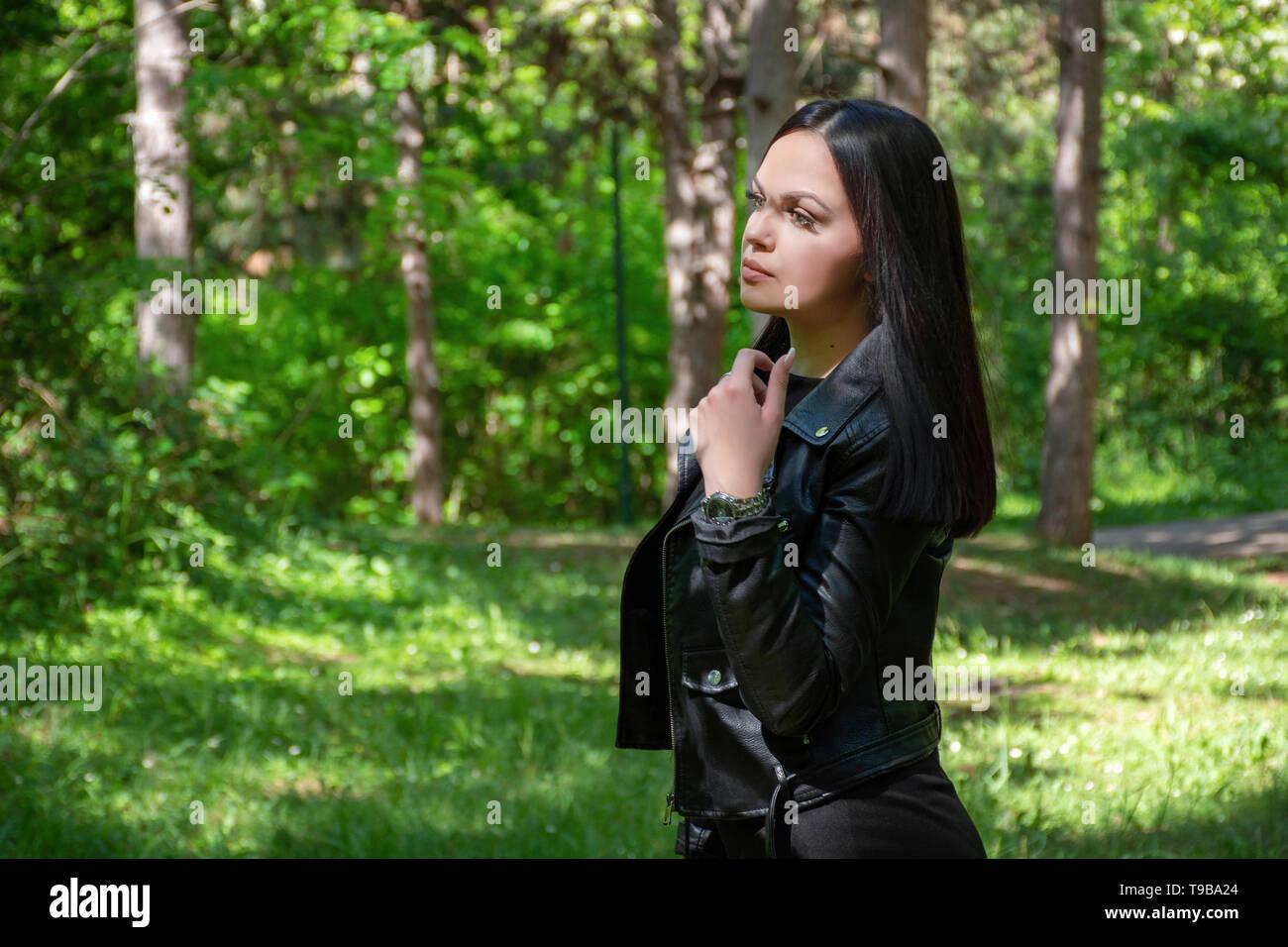 f8114f26a48622 Brunette Model Girl Leather Jacket Photos & Brunette Model Girl ...