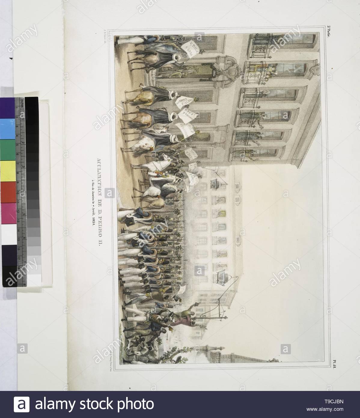 Debret,JeanBaptiste(1768-1848)-Acclamation de D. Pedro II à Rio de Janeiro le 7 Avril, 1851 Photo Stock