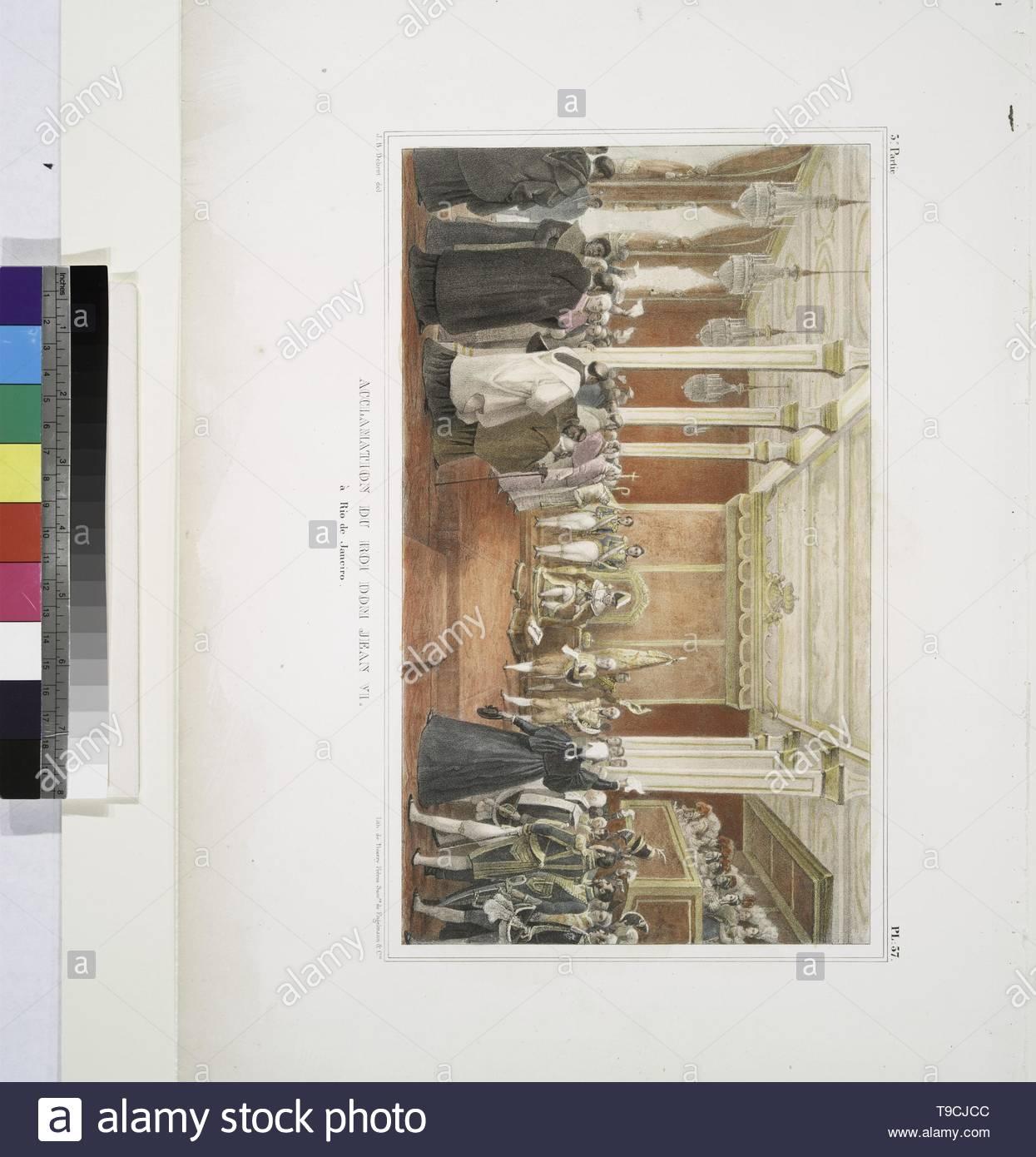 Debret,JeanBaptiste(1768-1848)-Acclamation du roi Don Jean VI à Rio de Janeiro Photo Stock