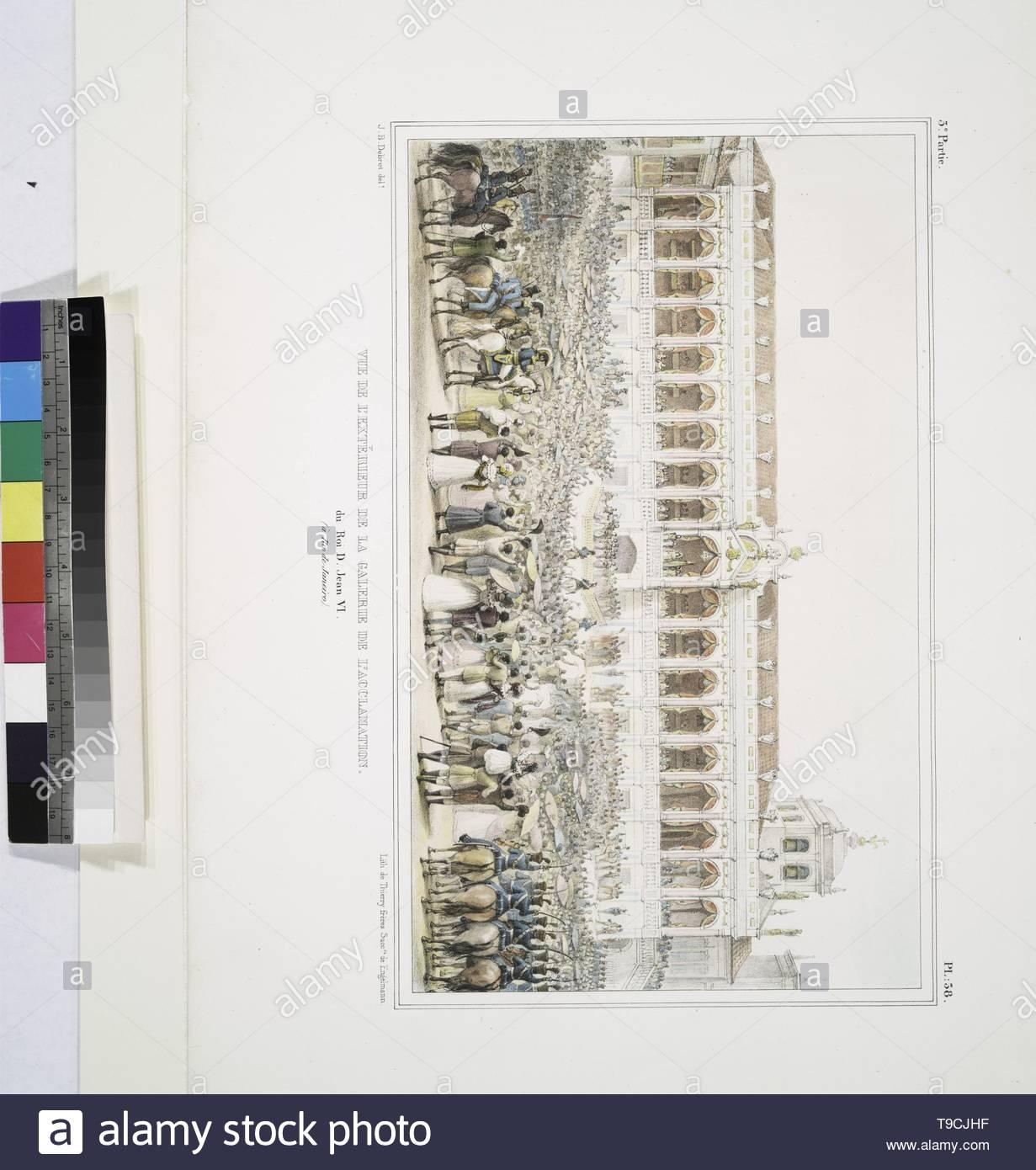 Debret,JeanBaptiste(1768-1848)-Vue de l& x27 extériere de la galerie de l& x27,acclamation du roi D. Jean VI (à Rio de Janeiro) Photo Stock