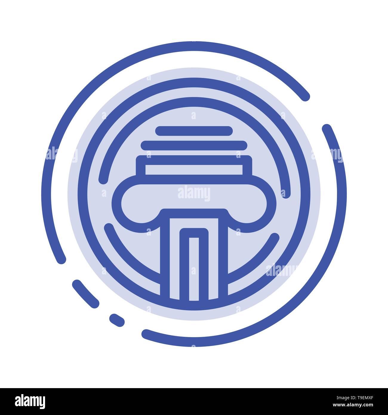 Type d'imprimante, machine à écrire, l'écrivain, l'icône de la ligne en pointillé bleu Illustration de Vecteur