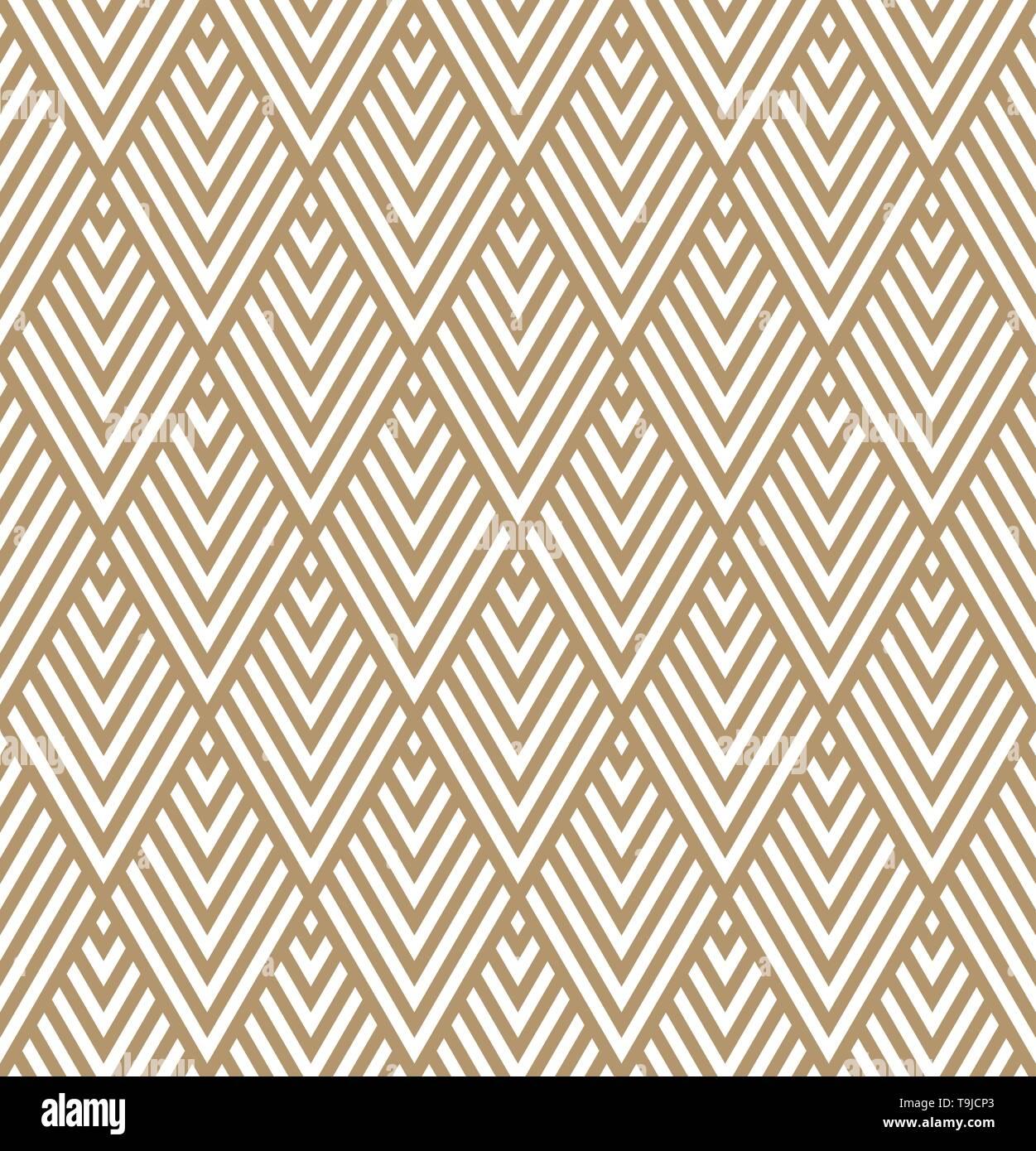 Motif géométrique homogène dans le style art déco.couleur marron.lignes épaisses. Photo Stock