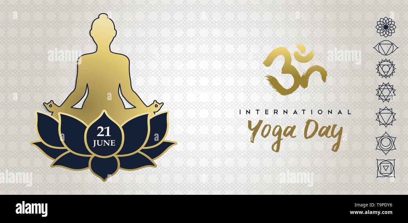 Carte de souhaits Jour Yoga illustration d'or les droits de l'ossature dans lotus posent avec fleur et chakra d'icônes. Photo Stock