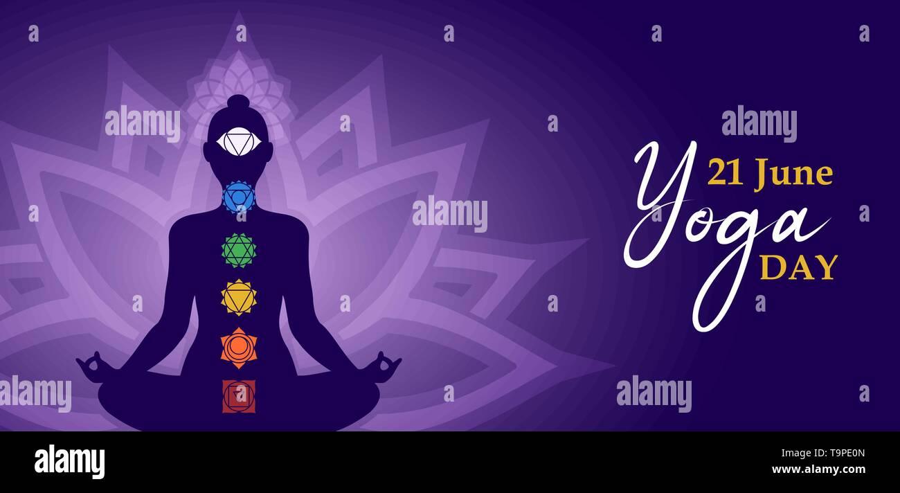 Journée Yoga illustration bannière pour l'exercice de méditation concept avec silhouette de femme dans lotus poser et chakra d'icônes. Photo Stock