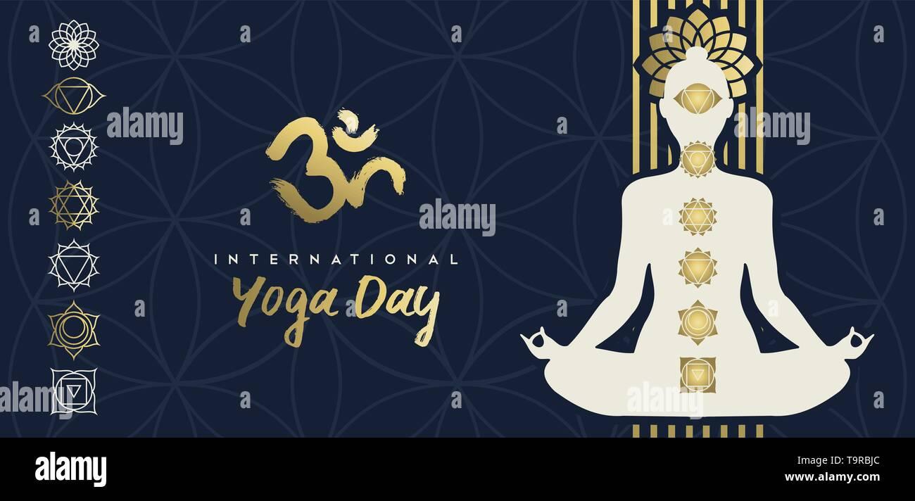 Journée Yoga illustration bannière d'or personne silhouette dans lotus posent avec fleur et icônes. chakra Photo Stock