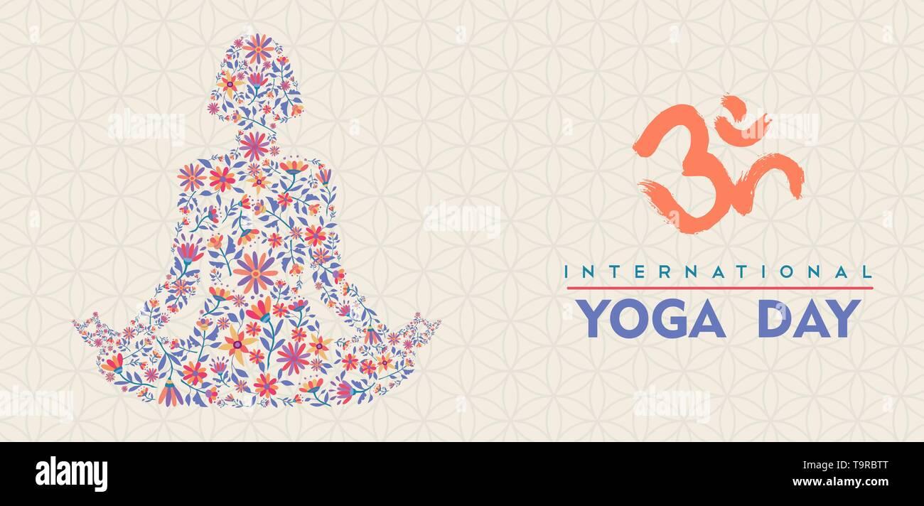 Journée Yoga illustration de la bannière. Femme lotus posent la méditation faite de fleurs Daisy colorés. Photo Stock