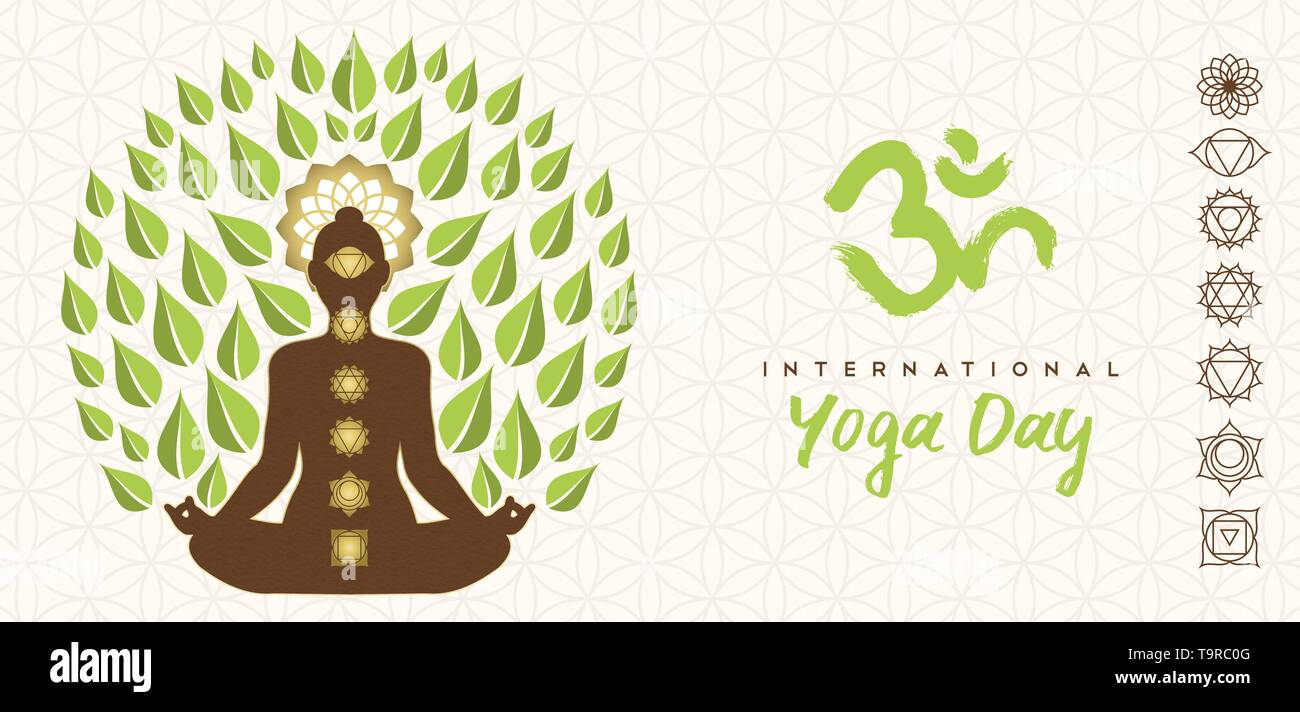 Journée internationale de l'illustration de la bannière Yoga lotus poser silhouette, icônes et chakra de feuilles d'arbres pour la nature concept de connexion. Photo Stock