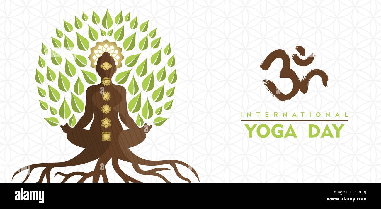 Yoga International Day Greeting card illustration de l'arbre lotus poser. L'énergie naturelle pour la méditation concept. Photo Stock