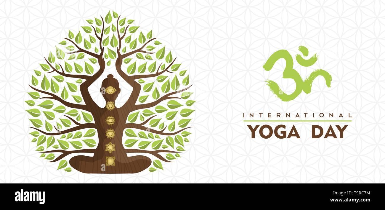 Journée internationale de l'illustration de la bannière Yoga silhouette de femme chakra, icônes et de feuilles d'arbres pour la nature concept de connexion. Photo Stock
