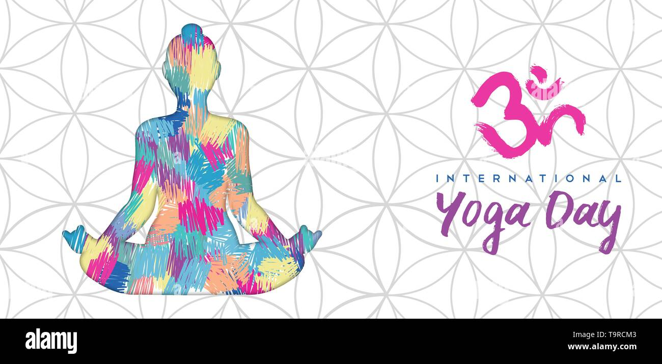Journée internationale de l'illustration de la bannière de Yoga de lotus de poser dans l'art abstrait coloré de texture. Photo Stock