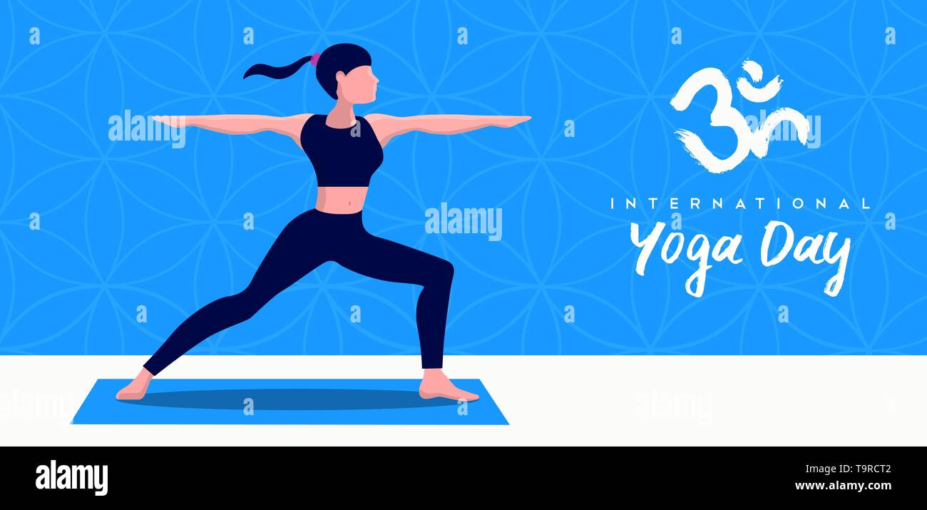 Journée internationale de l'illustration de la bannière Yoga woman doing warrior pose pour l'esprit et l'exercice de relaxation. Photo Stock