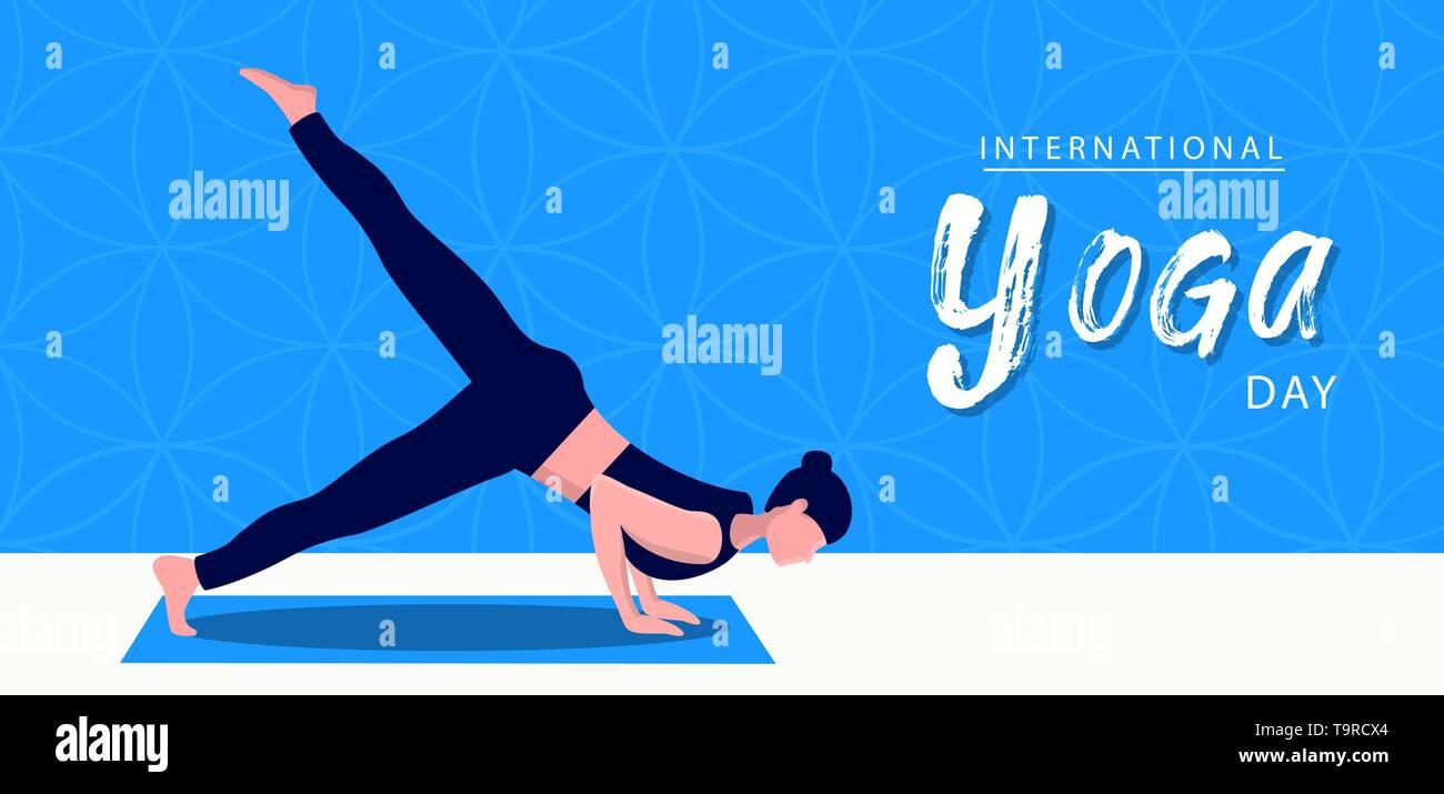 Journée internationale de l'illustration de la bannière de Yoga de la méditation poser pour l'esprit et l'exercice de relaxation. Photo Stock