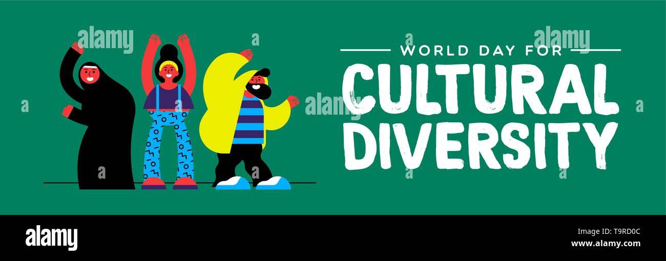 La Journée de la diversité culturelle Les bandeaux web illustration. Heureux ami groupe de personnes de divers groupes ethniques. Photo Stock