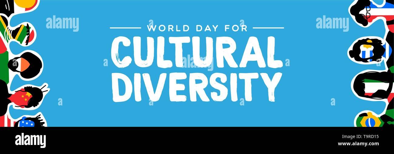 La Journée de la diversité culturelle Les bandeaux web illustration. Groupe social avec divers drapeaux de pays. Comprend les personnes en provenance d'Asie, d'Amérique, d'europe et Photo Stock