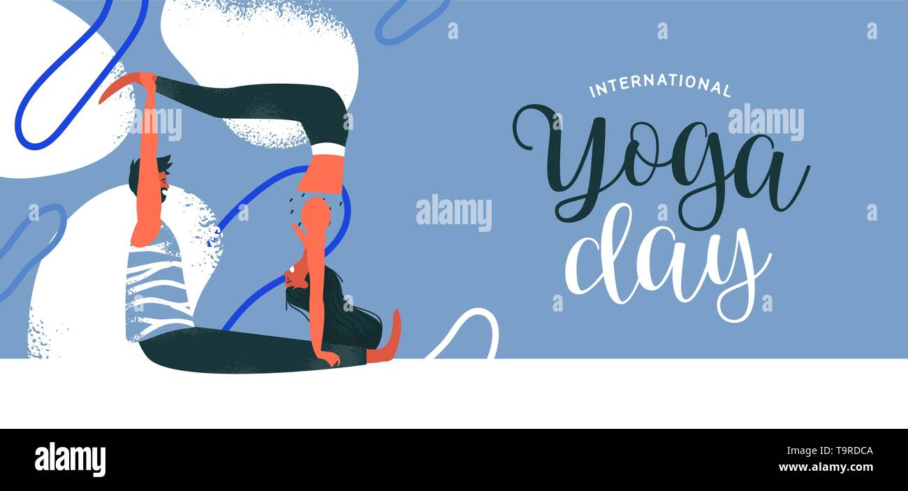 Journée internationale de l'illustration de la bannière yoga couple faisant exercice de méditation. Le yoga ou le partenaire Yoga Acro. Photo Stock