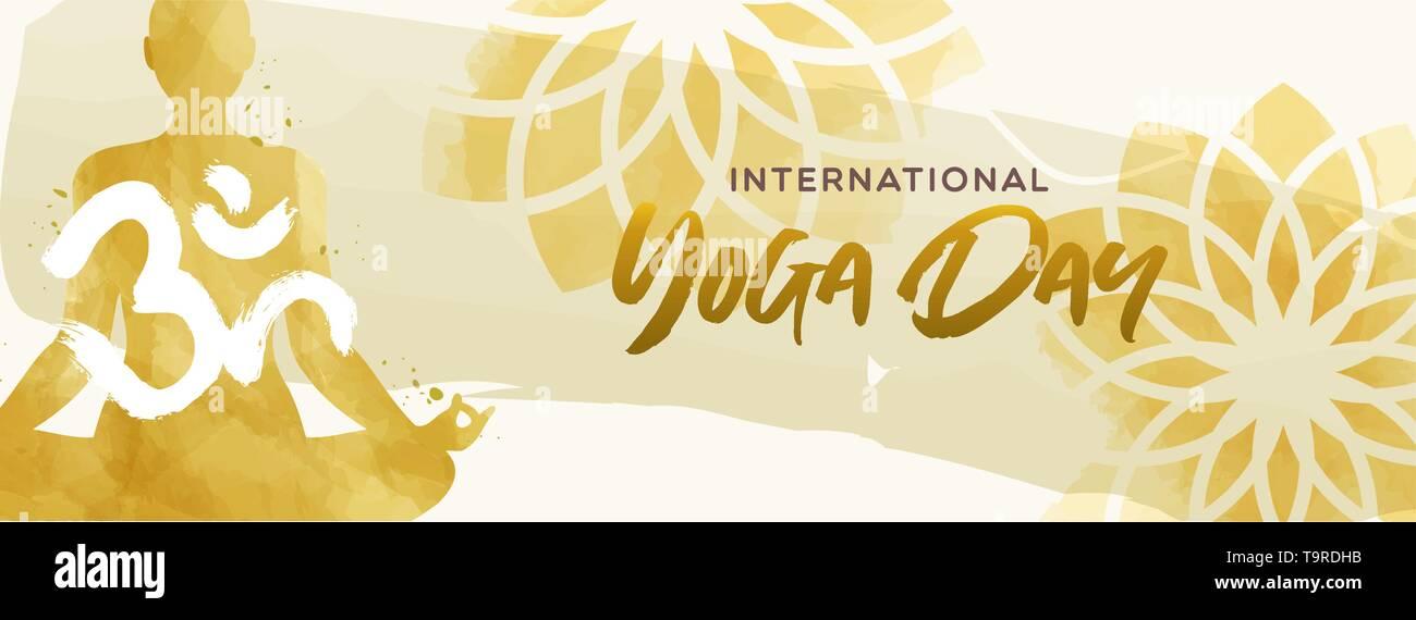 Journée internationale de l'illustration de la bannière de Yoga. Aquarelle art de la femme et de l'exercice pose lotus floral background. Photo Stock
