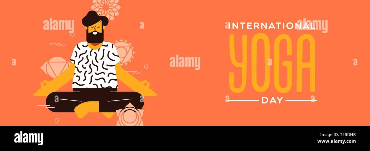 Journée Yoga bannière de l'homme faisant poser dans l'exercice de lotus télévision cartoon style moderne. Photo Stock