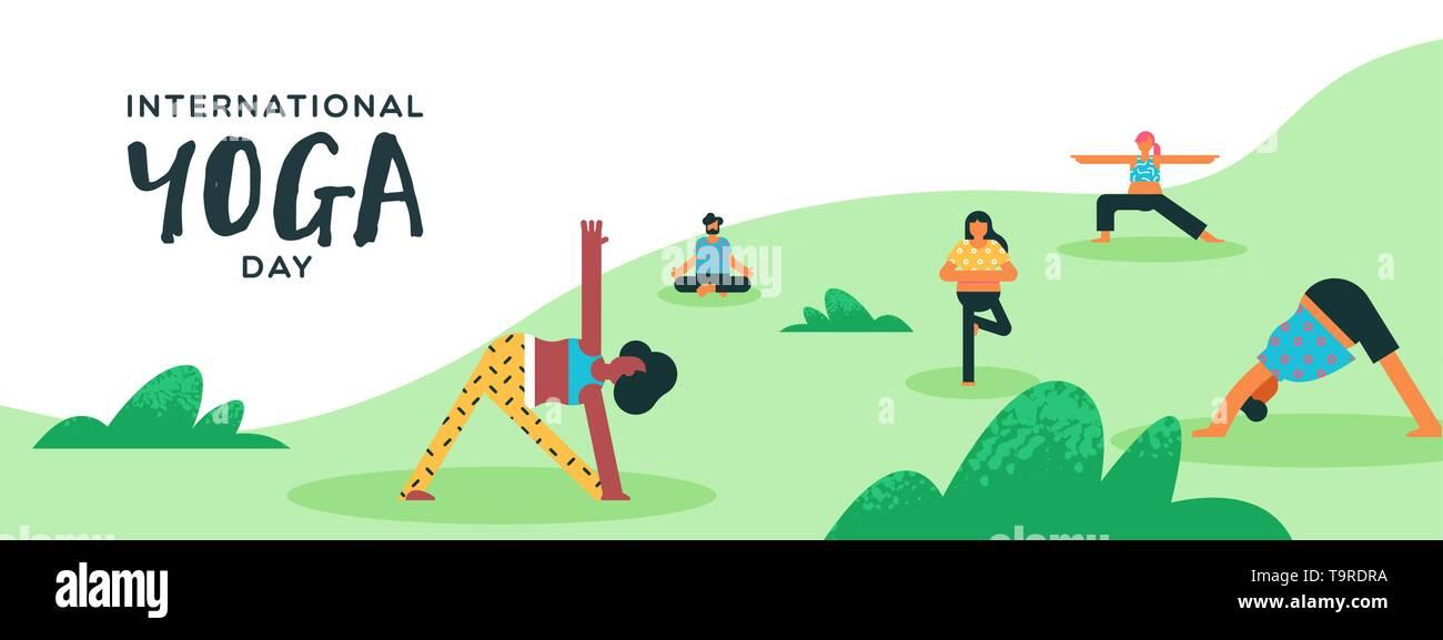 Journée Internationale de Yoga bannière de diverses personnes faire de l'exercice en parc extérieur. Photo Stock