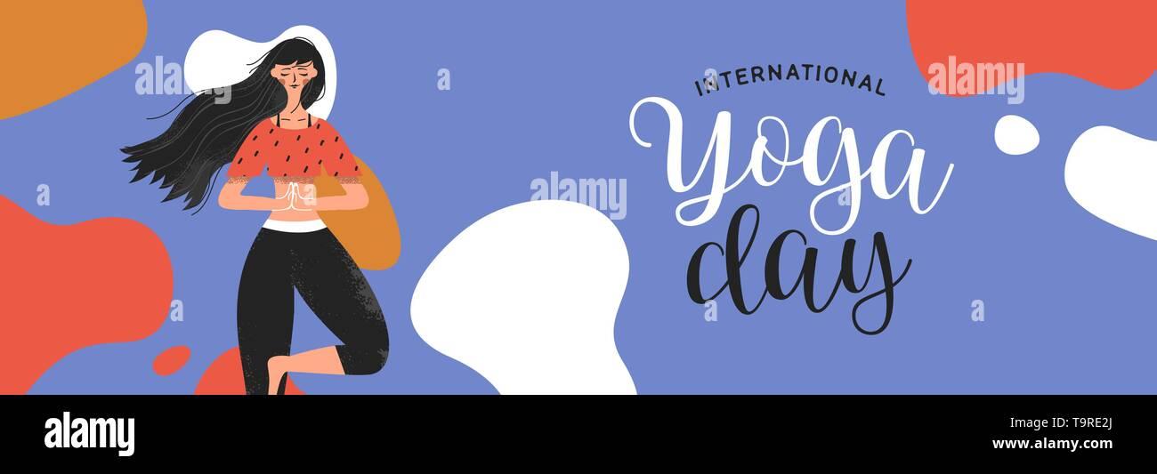 Journée internationale de l'illustration de la bannière de Yoga femme en posture de l'arbre pour la méditation, la santé et la forme physique. Photo Stock
