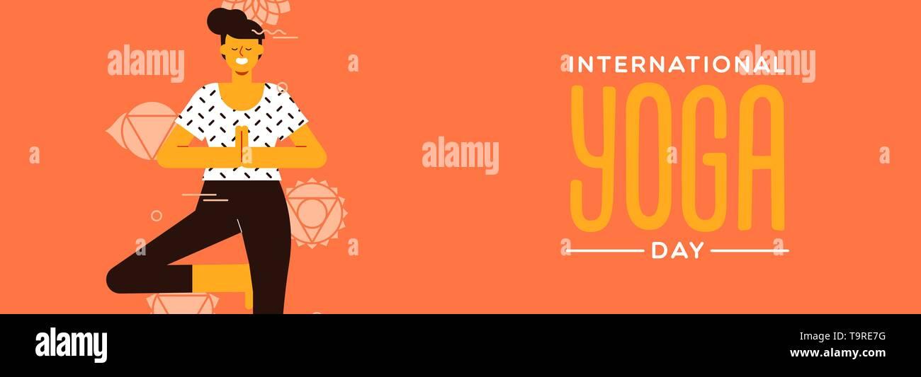 Journée Yoga banner de posture de l'arbre dans l'exercice de style dessin animé télévision moderne. Photo Stock
