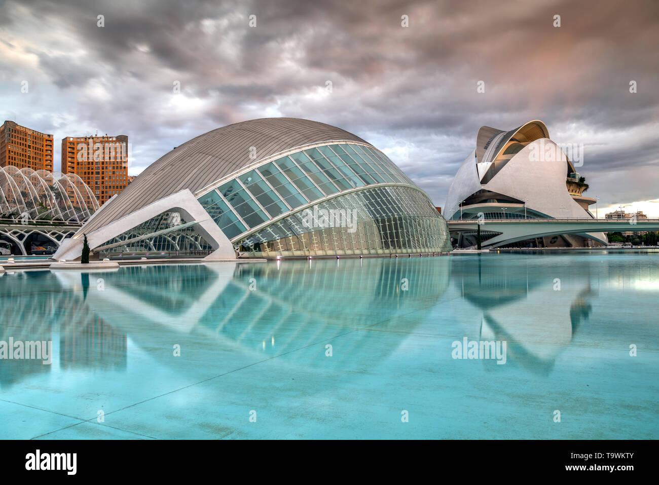 Cité des Arts et des sciences ou Ciudad de las Artes y las Ciencias, Valencia, Comunidad Valenciana, Espagne Banque D'Images
