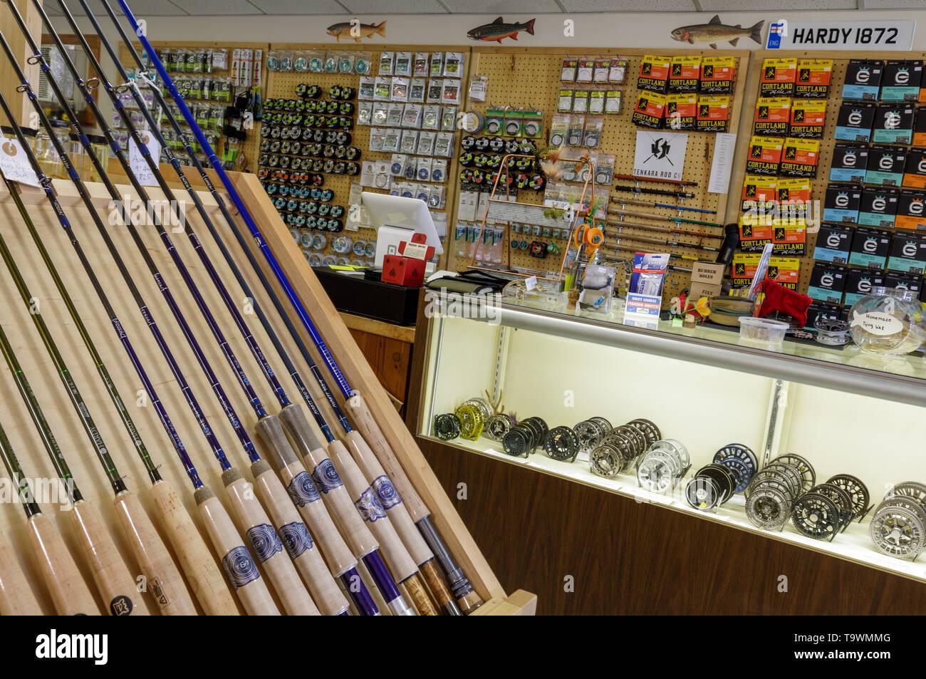 L'intérieur de cette boutique, plus ancienne famille-run fly shop dans le monde. Roscoe, New York, dans les Catskills. Photo Stock