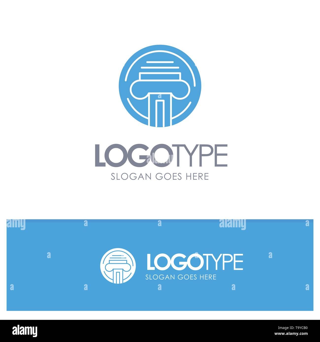 Type d'imprimante, machine à écrire, écrivain, solide bleu avec logo pour signature Illustration de Vecteur