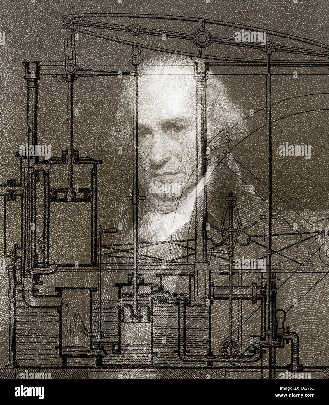 Moteur thermique à piston Par James Watt, 1736 - 1819, l'inventeur écossais de la machine à vapeur Photo Stock
