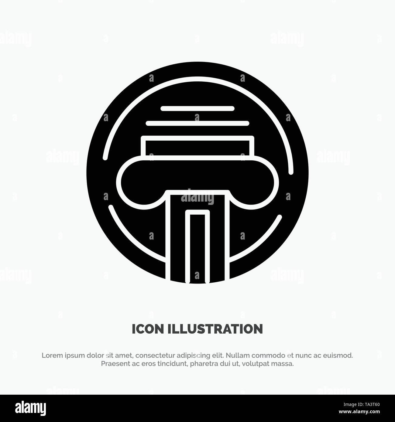 Type d'imprimante, machine à écrire, écrivain, vecteur Icône glyphe solide Illustration de Vecteur