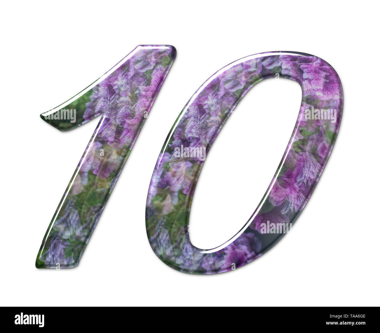 Le nombre dix partie d'un ensemble de lettres, chiffres et symboles de l'alphabet en 3D faite avec une image sur fond blanc Banque D'Images