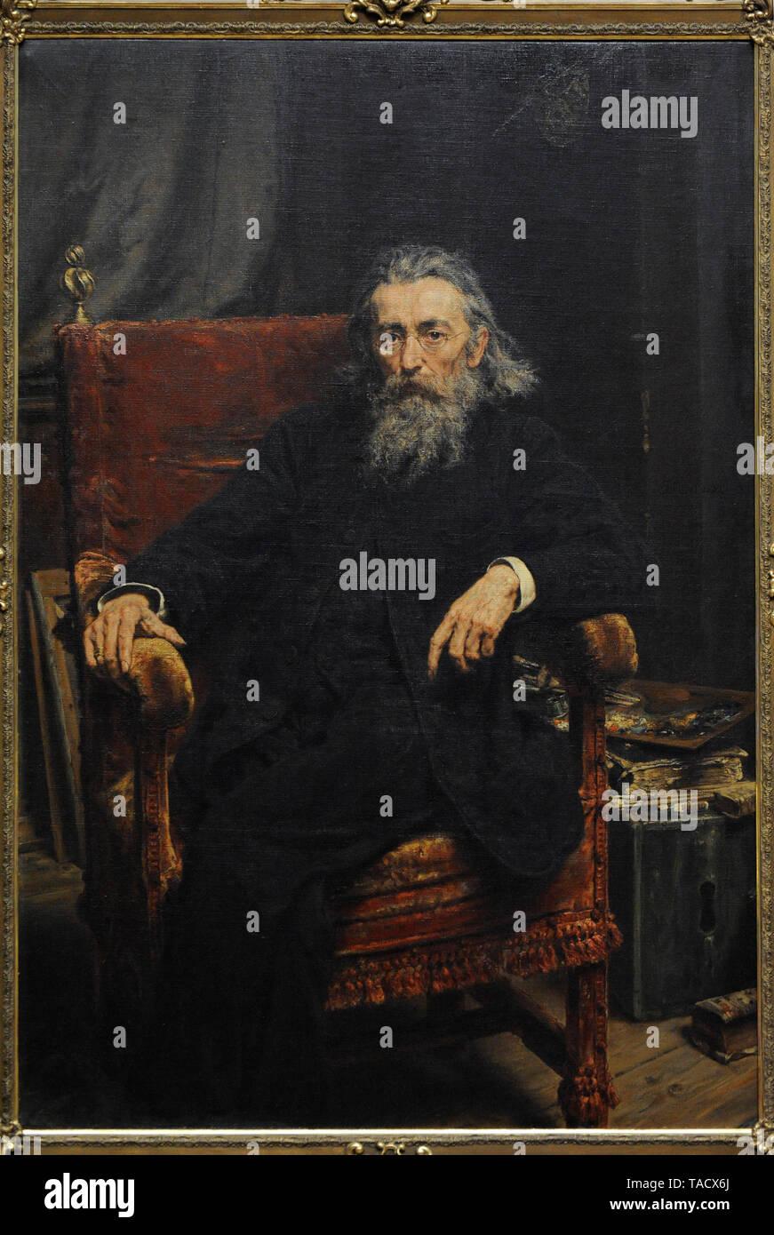 Jan Matejko (1838-1893). Peintre polonais. Auto-portrait, 1892. Musée national. Varsovie. La Pologne. Banque D'Images