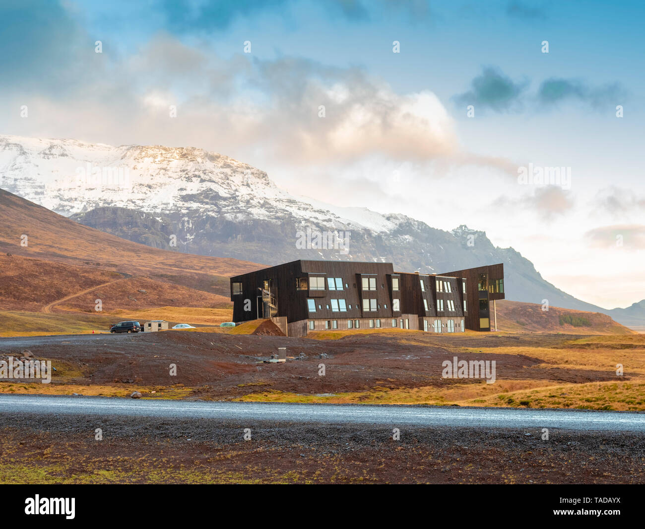 L'Islande, bâtiment moderne près de parc national du Vatnajökull en hiver Banque D'Images