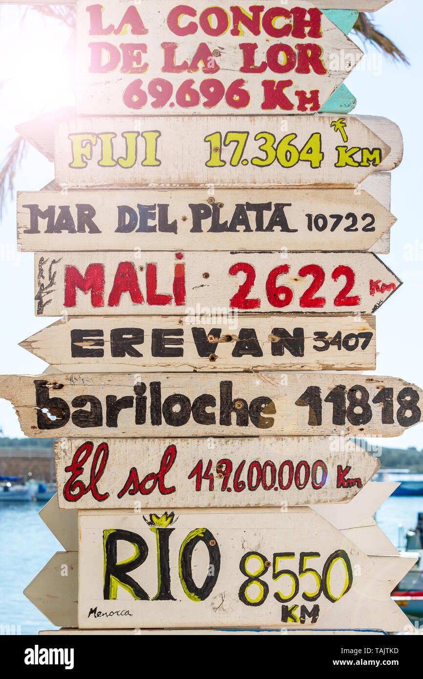 Les panneaux avec les directions à différents endroits du monde. Photo Stock