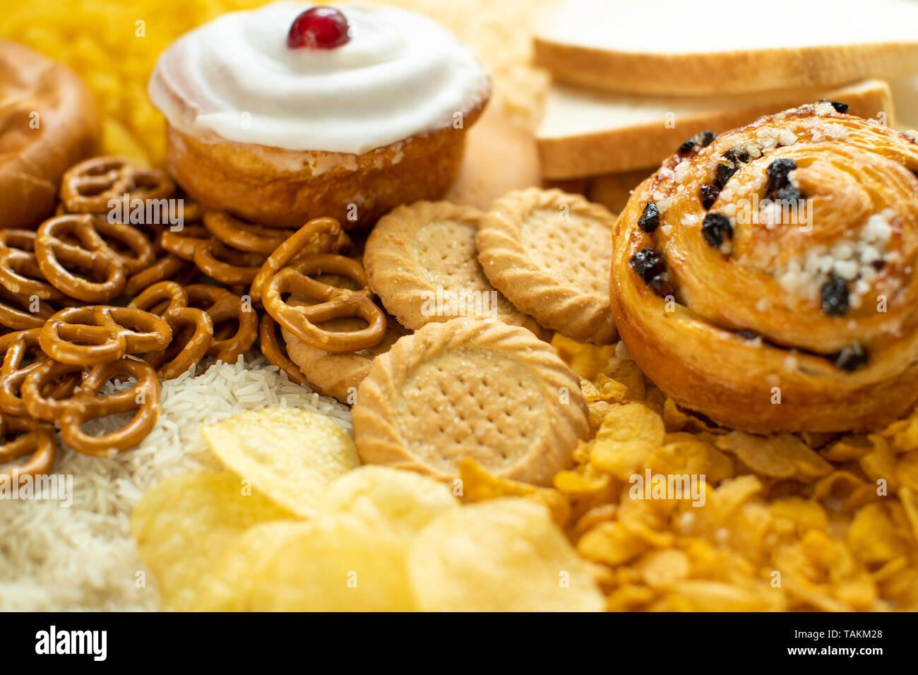 Full Frame Shot d'aliments contenant des glucides mauvais ou malsain Photo Stock