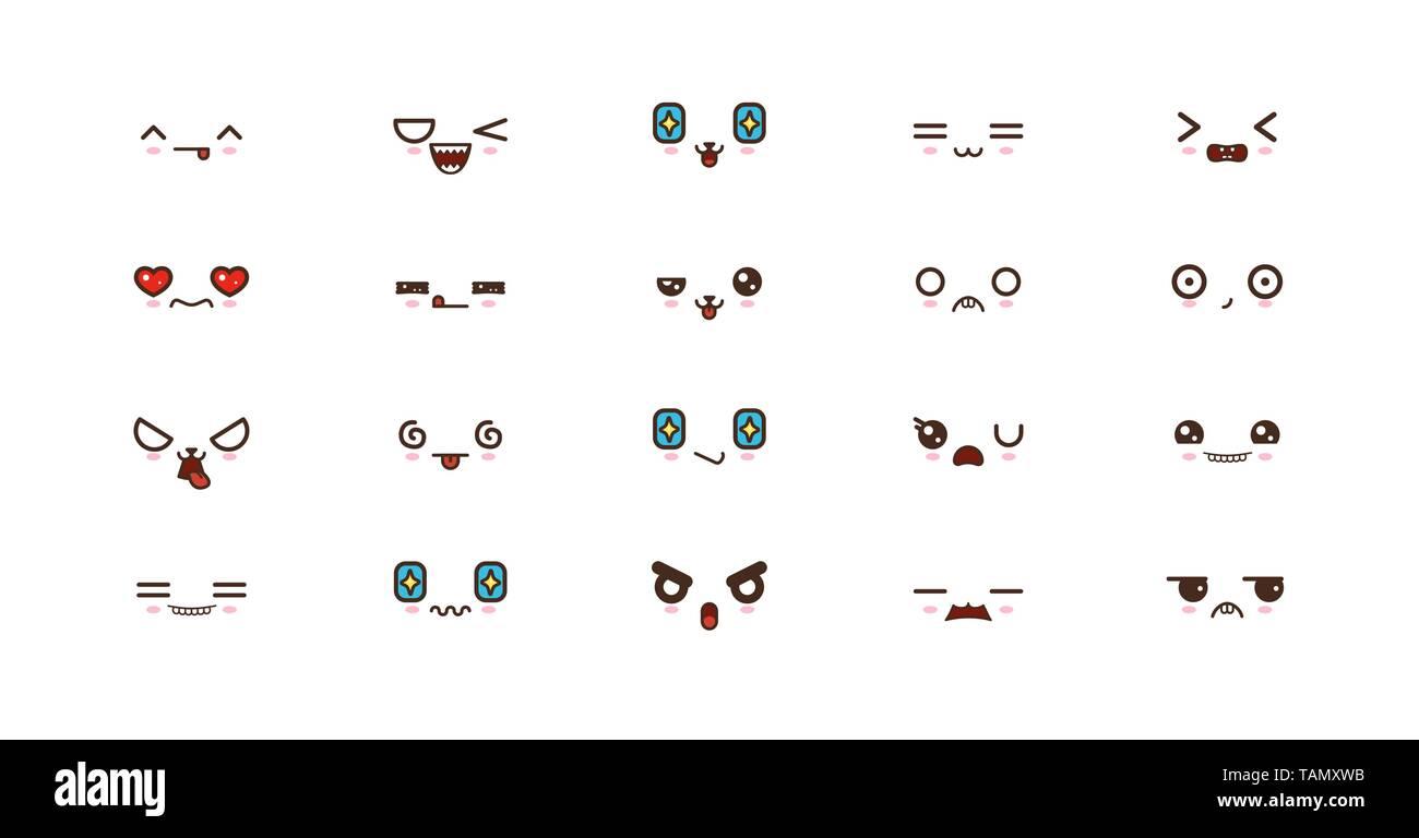 Les Expressions Des Visages Kawaii Sourire Mignon Des Emoticones Emoji Japonais Image Vectorielle Stock Alamy