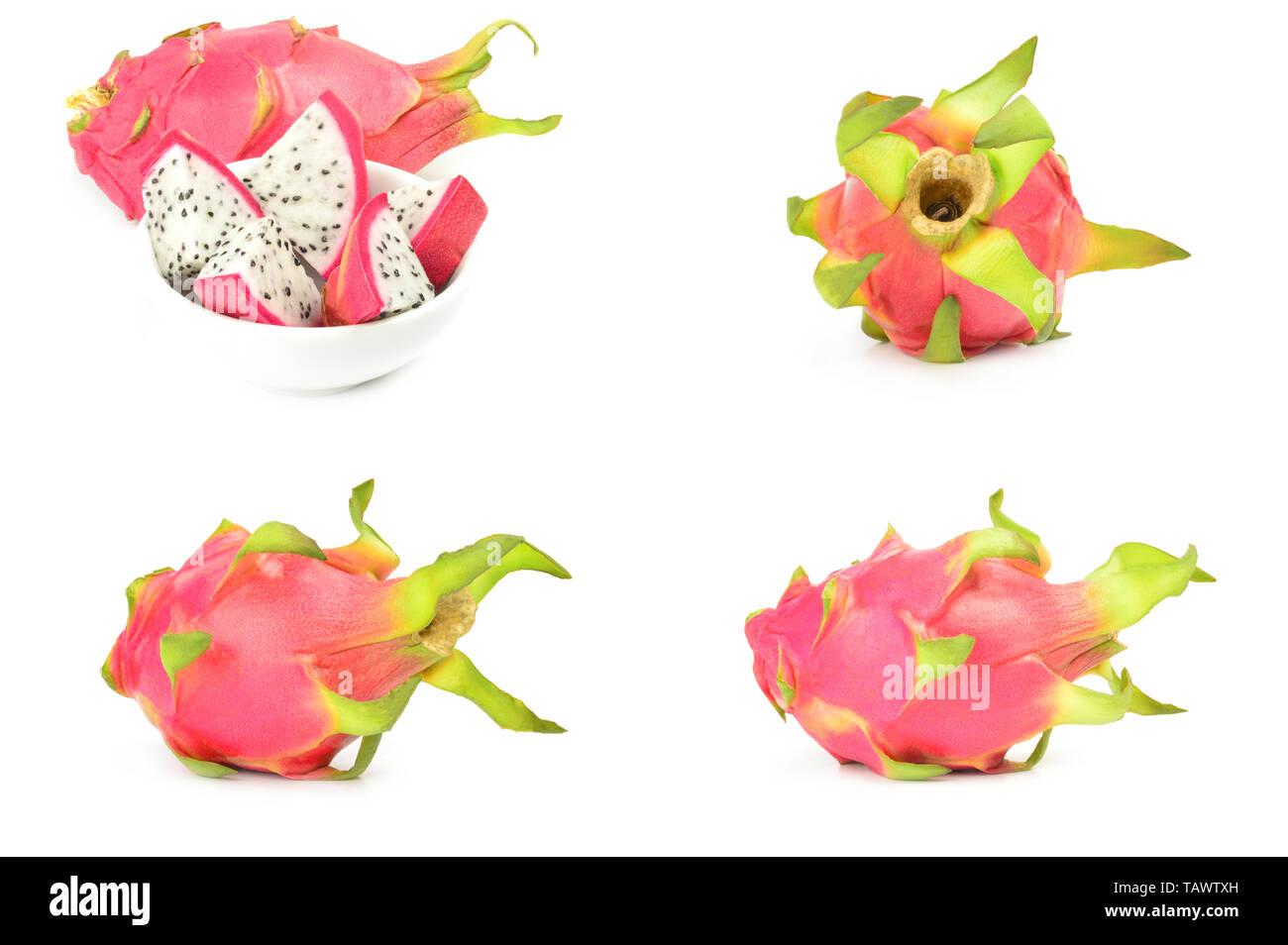 Collection de dragon fruit isolé sur un fond blanc dentelle Banque D'Images
