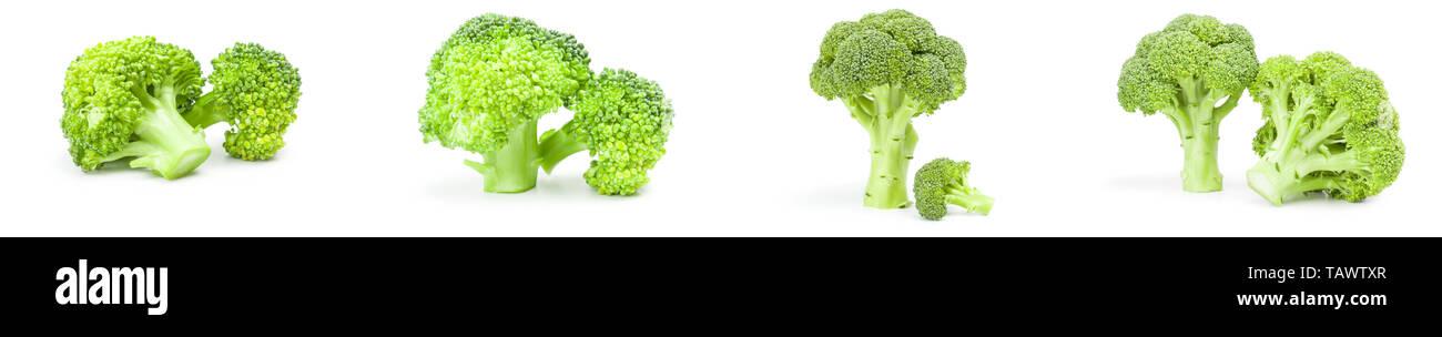 Collage de brocoli vert frais sur un fond blanc Banque D'Images