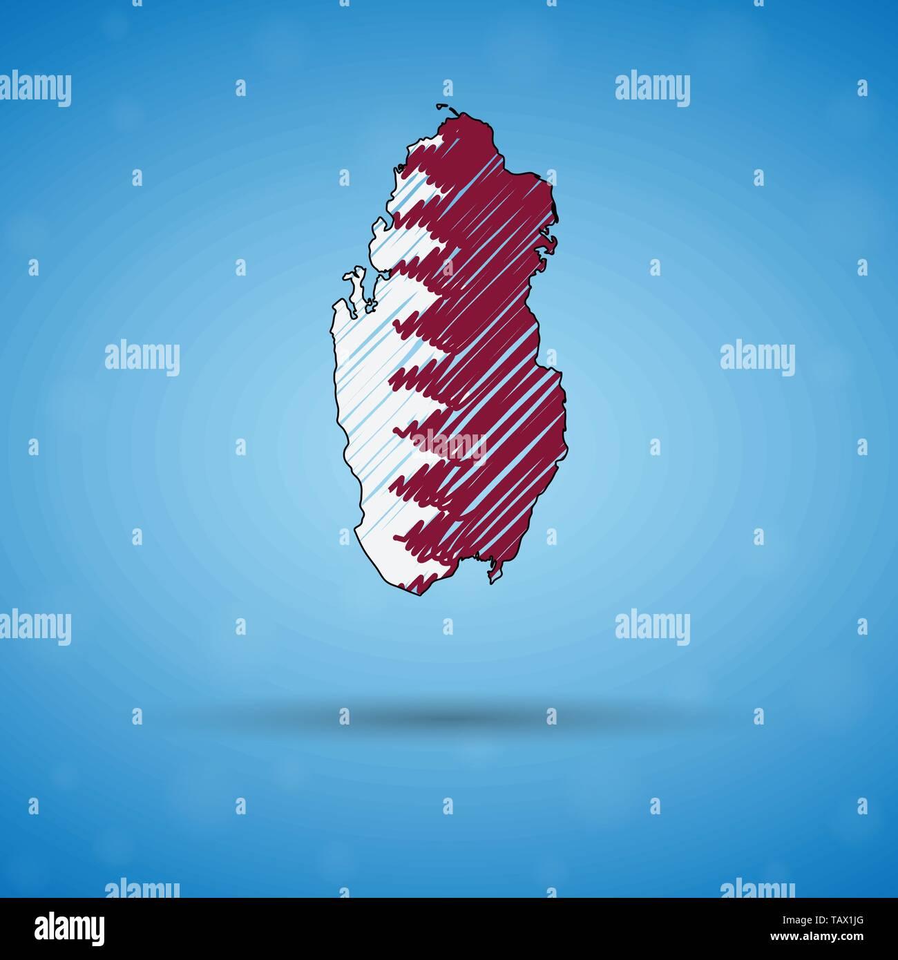 Scribble map du Qatar. Sketch carte du pays pour l'infographie, des brochures et des présentations, des croquis stylisé du Qatar. Vector illustration Illustration de Vecteur