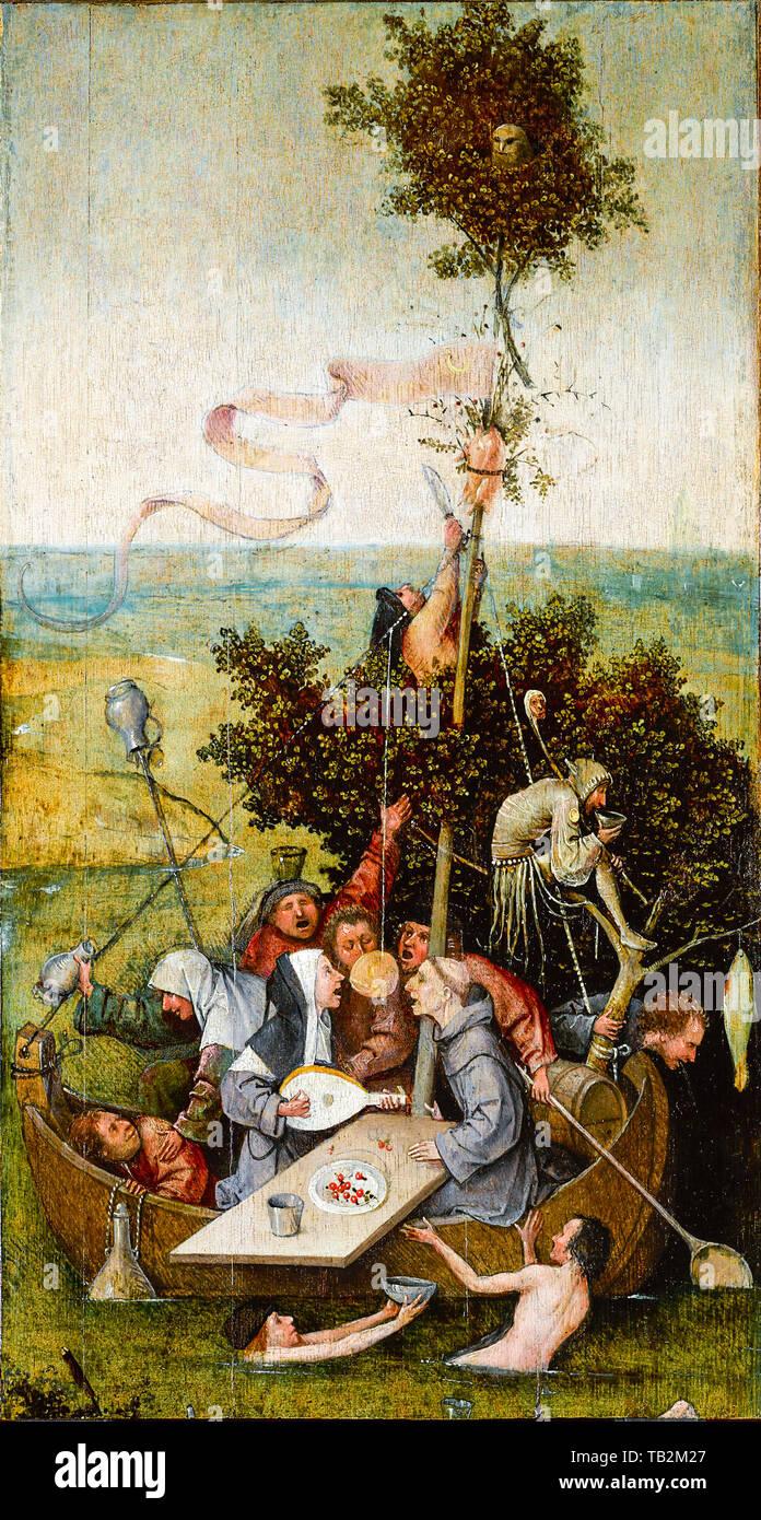 Jérôme Bosch, le Ship of Fools, peinture, vers 1494 Photo Stock
