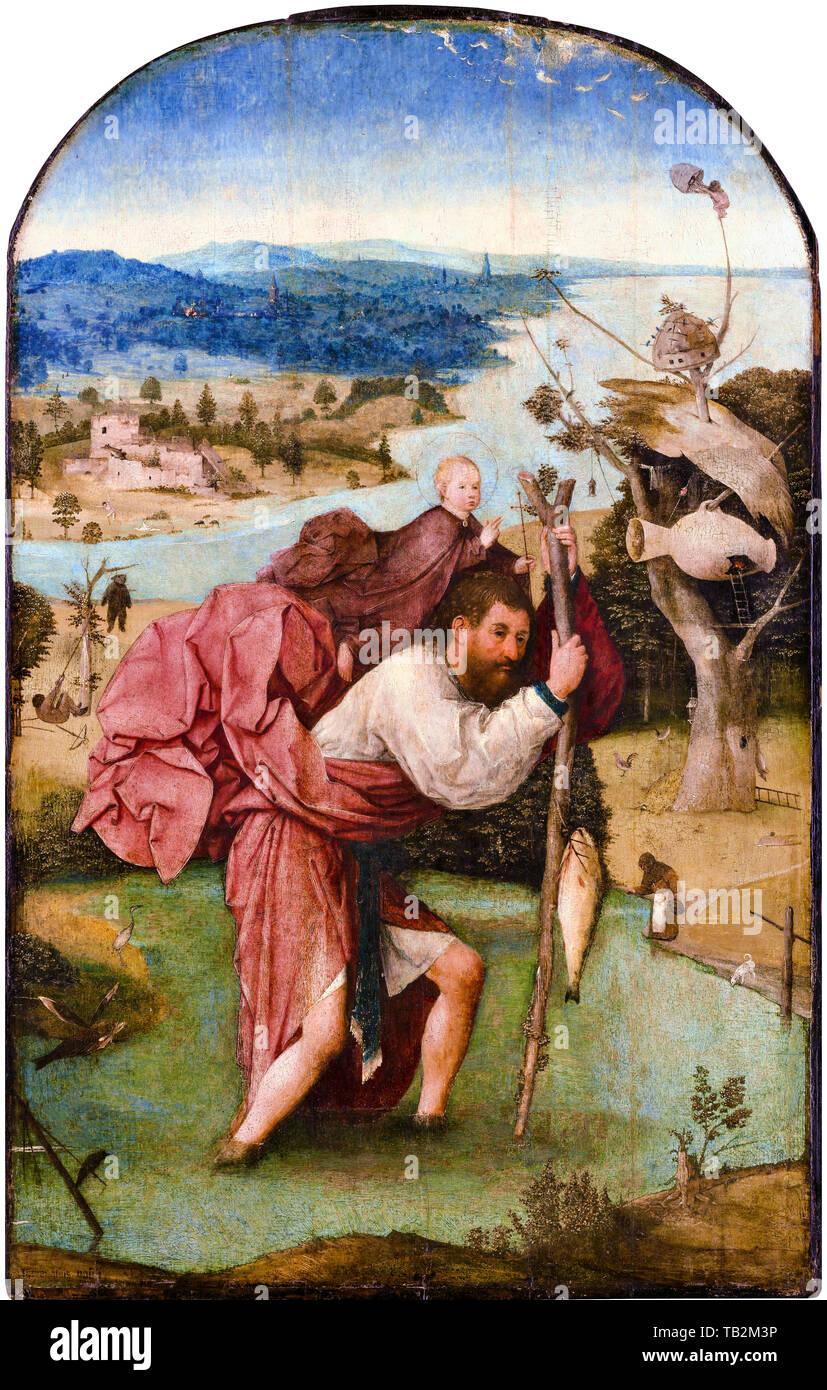 Jérôme Bosch, Saint-Christophe, peinture, vers 1496 Photo Stock