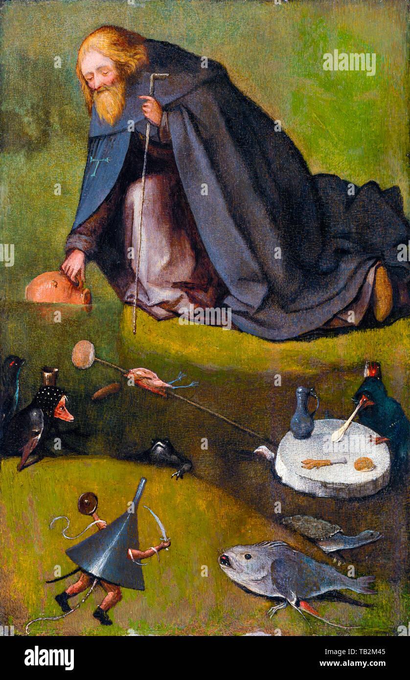 Jérôme Bosch, la tentation de Saint Antoine (Kansas), peinture, vers 1520 Photo Stock