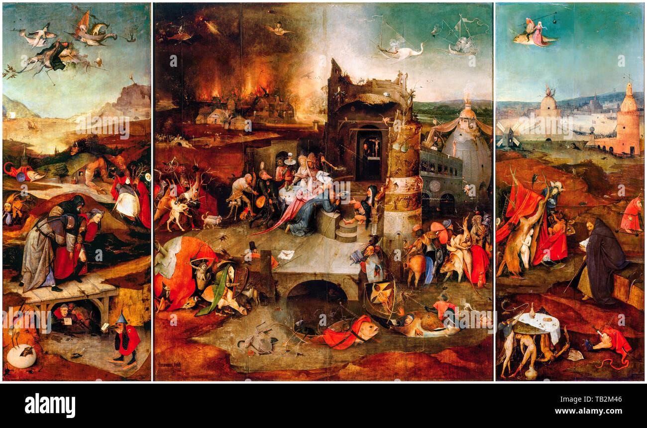 Jérôme Bosch, La Tentation de Saint Antoine (Lisbonne), peinture, vers 1495 Photo Stock