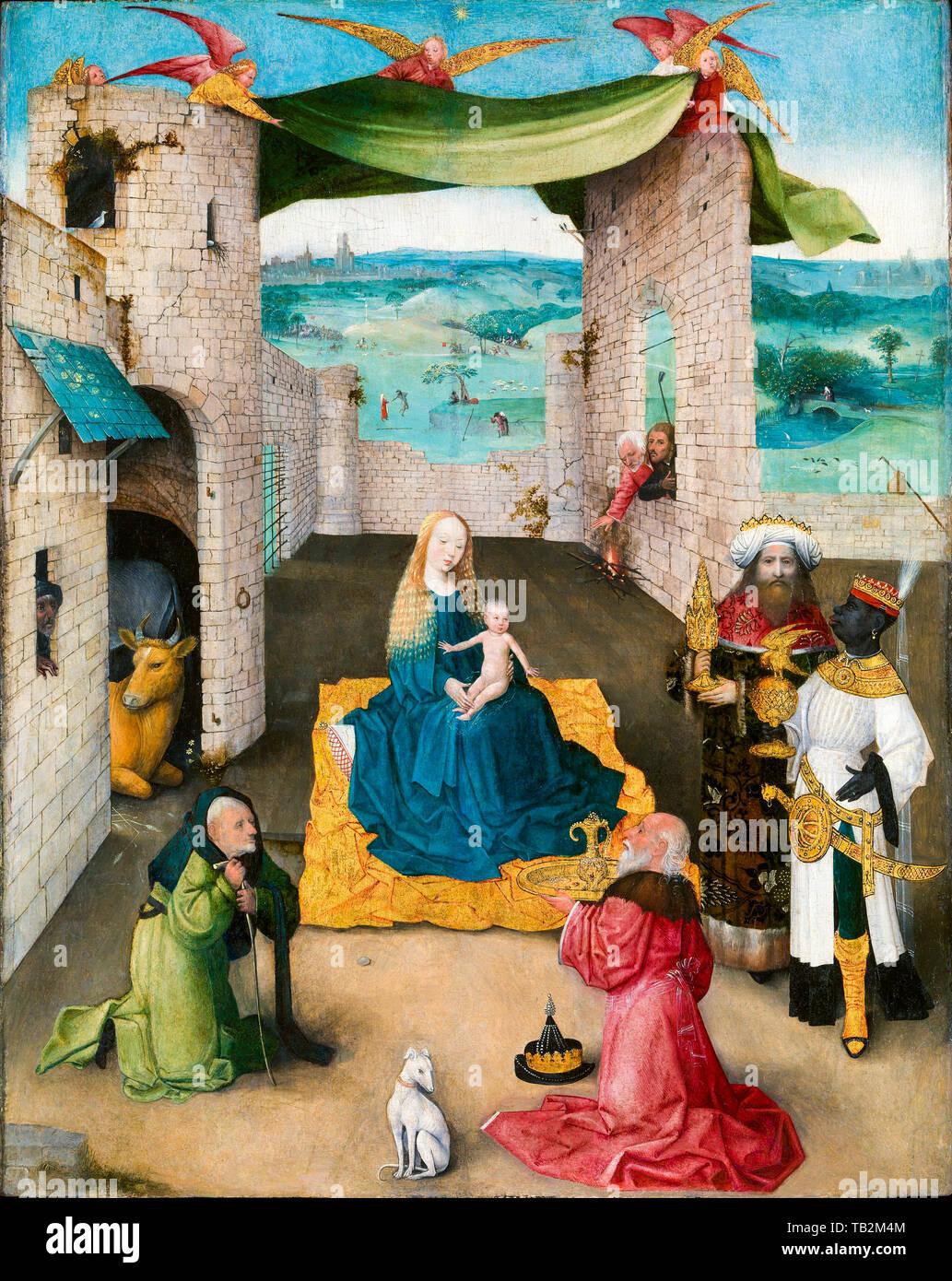 Jérôme Bosch, l'Adoration des Mages, peinture, vers 1475 Photo Stock