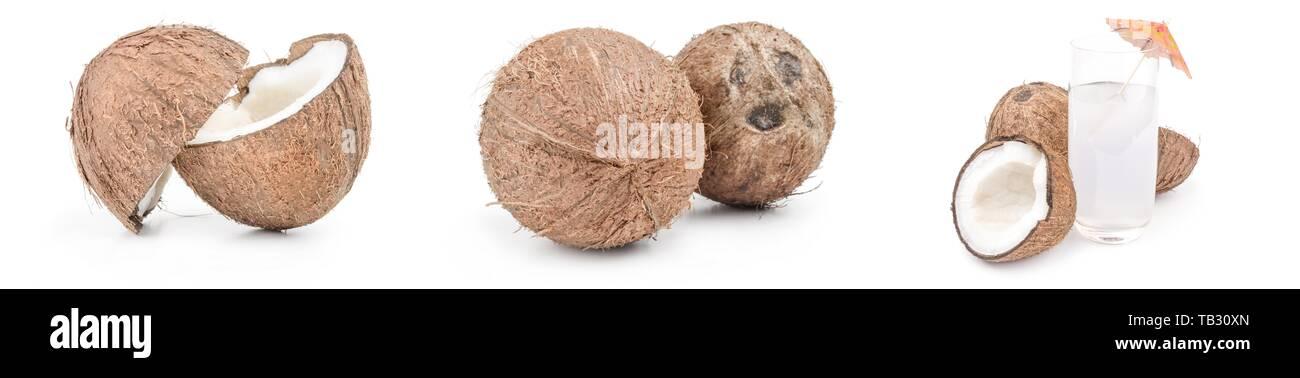 Ensemble de coconut on white Banque D'Images
