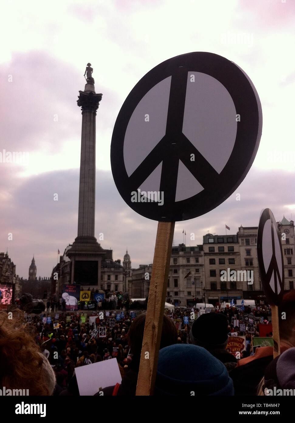 Trident CND rally, Londres, février 2016 Photo Stock