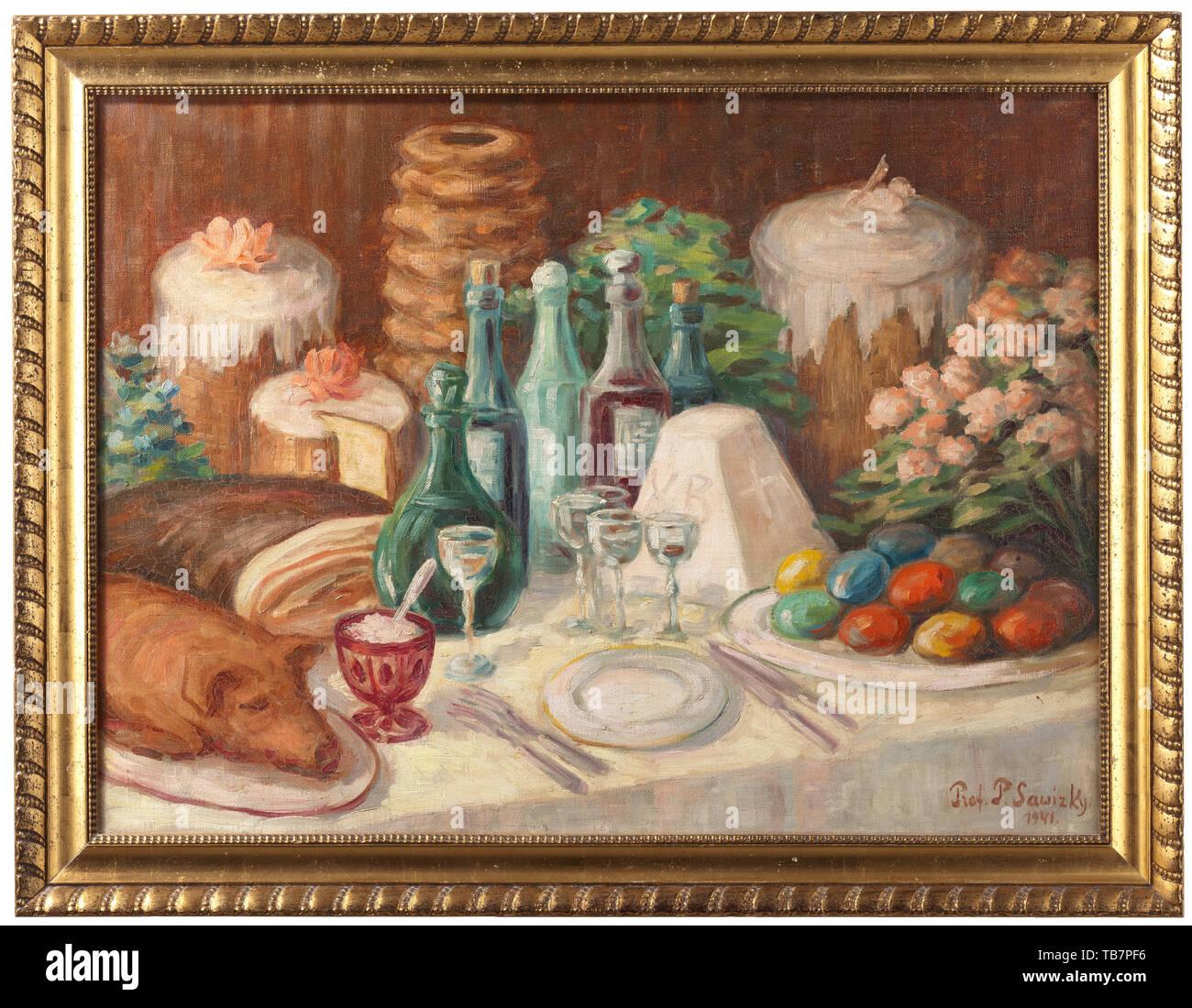 Protoiereus Olimpievitsh (1881 Pavel Élie Lefeuvre - 1956) - une vie encore Pâques, huile sur toile, signée en bas à droite et datée 'Prot. P. Sawizky 1941'. La table somptueusement avec des gâteaux de Pâques, oeufs de Pâques, des fleurs, des boissons et un cochon de lait. Dans un cadre en bois doré. Peinture de dimension 60 x 80 cm. Châssis de dimension 71 x 91 cm. Olimpievitsh Protoiereus Pavel était un Élie Lefeuvre peintre et sculpteur russe, ainsi qu'un célèbre chef d'église orthodoxe au cours de l'émigration. Il a étudié sous le PI. Troutnev au Vilensky Art Academy et à l'Additional-Rights Clearance-Info-chu,-Not-Available Photo Stock