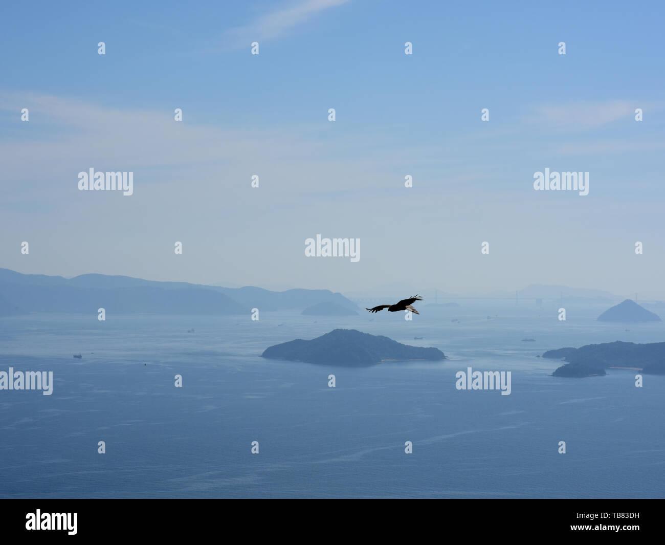Vue aérienne de l'setouchi appelé Shimanami Kaido en ponts de Shikoku Naoshima et un aigle volant silhouette. Photo Stock