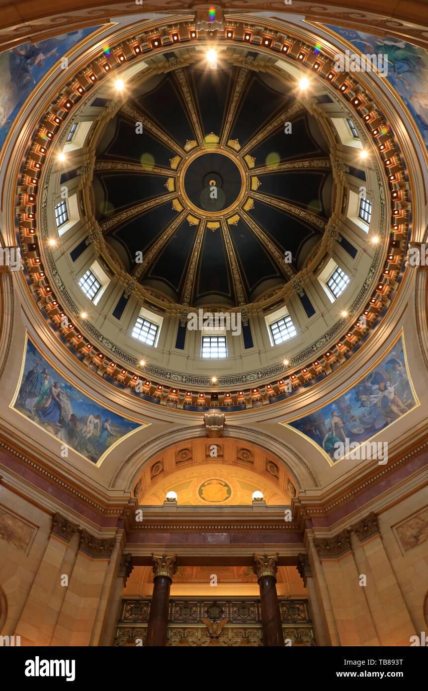 Vue de l'intérieur de Minnesota State Capitol's dome.Saint Paul.Minnesota.USA Banque D'Images