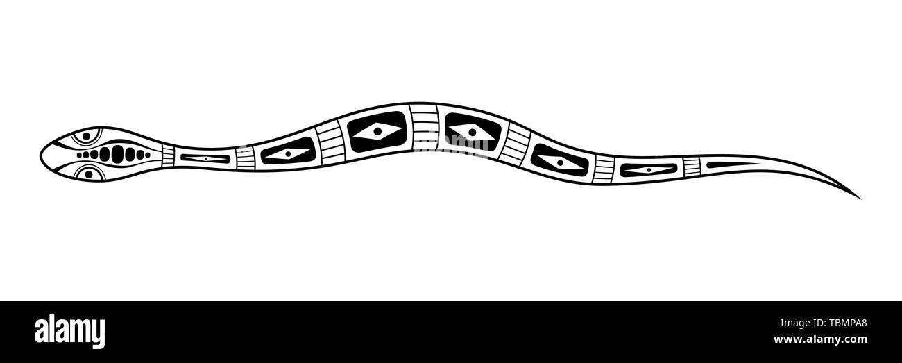 Serpent. Style d'art autochtone. Tatoo. Logo noir et blanc. Vector illustration monochrome isolé sur fond blanc. Illustration de Vecteur